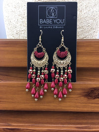 Gold Chandelier Earrings with Red Beads - Babe You