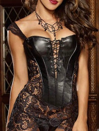 Black Lace Leather-Look Corset - Babe You