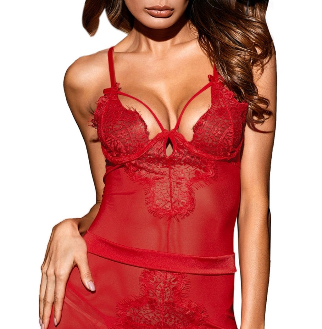 Red Butterfly Sheer Mesh and Lace Chemise - Babe You