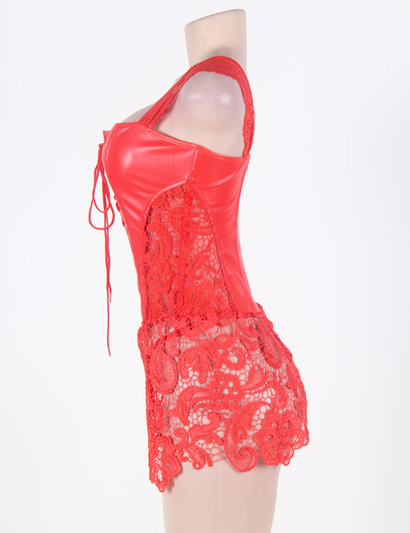 Red Lace Leather-Look Corset - Babe You