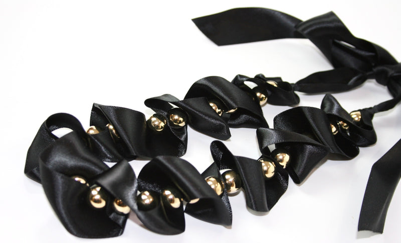 Black Ribbon Necklace with Gold Beads - Babe You