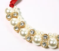 Red Pearl Ribbon Necklace with Rhinestones - Babe You