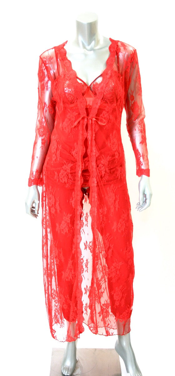 Red Long Lace Robe - Babe You