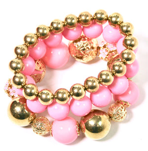 Chunky Pink & Gold Bead Bracelet - Babe You