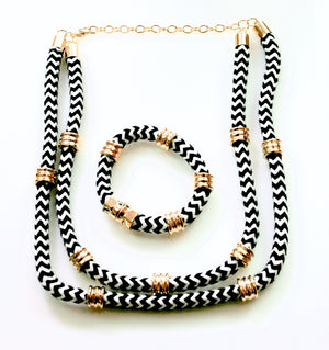 Black & White Rope Necklace & Bracelet - Babe You