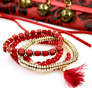 Red & Gold Tassel Bead Bracelet - Babe You