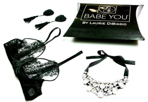 Clear & Black Felt Necklace - Babe You