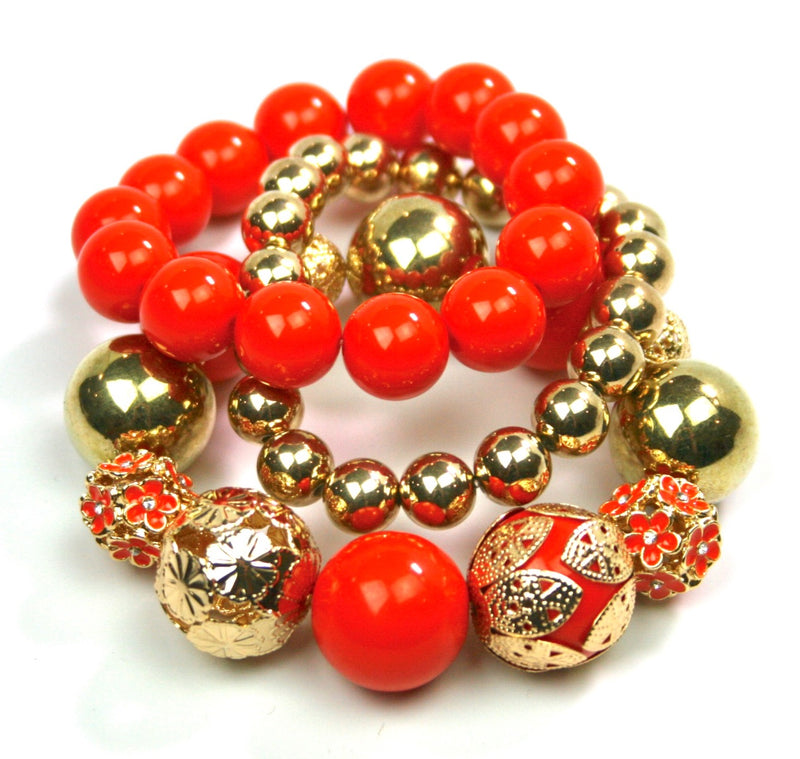 Chunky Orange & Gold Bead Bracelet - Babe You