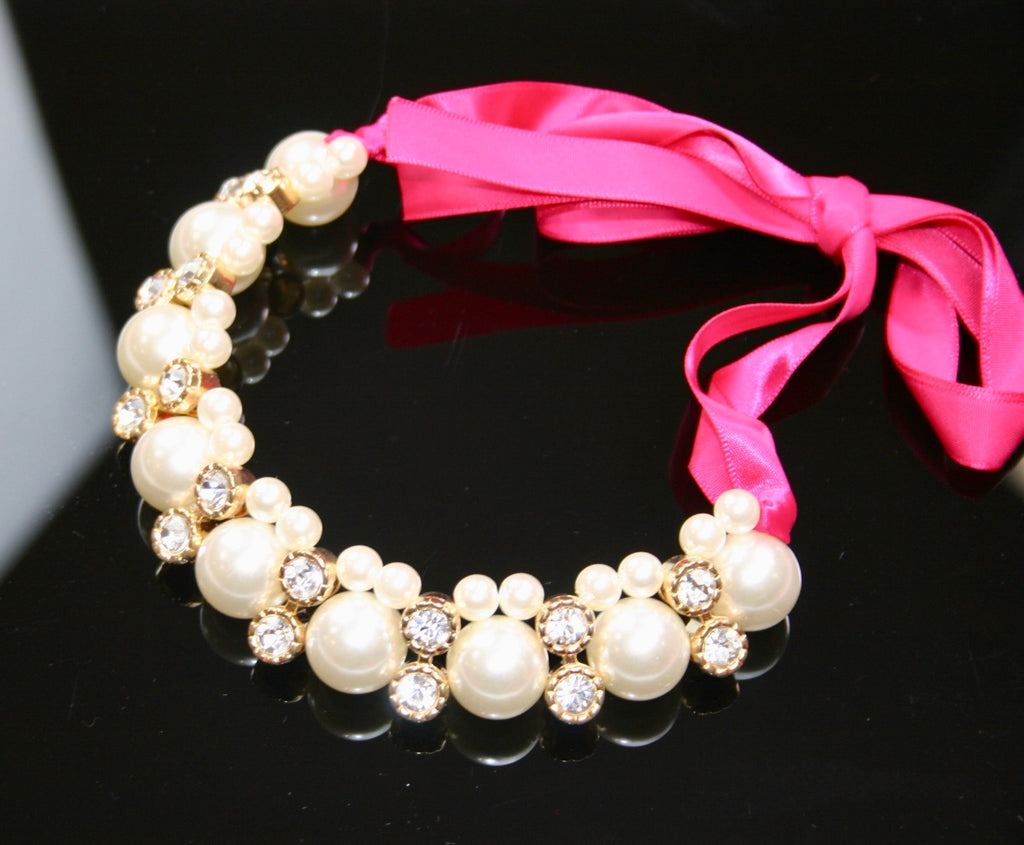 Pink Pearl Ribbon Necklace with Rhinestones - Babe You
