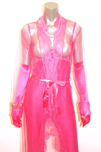 Pink Delicate Long Sheer Robe - Babe You