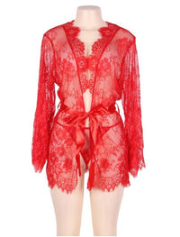 Red Belted Eyelash Lace Robe - Babe You