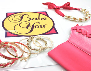 Gold Bangles Bracelet with Pearls & Pink Ribbon - Babe You
