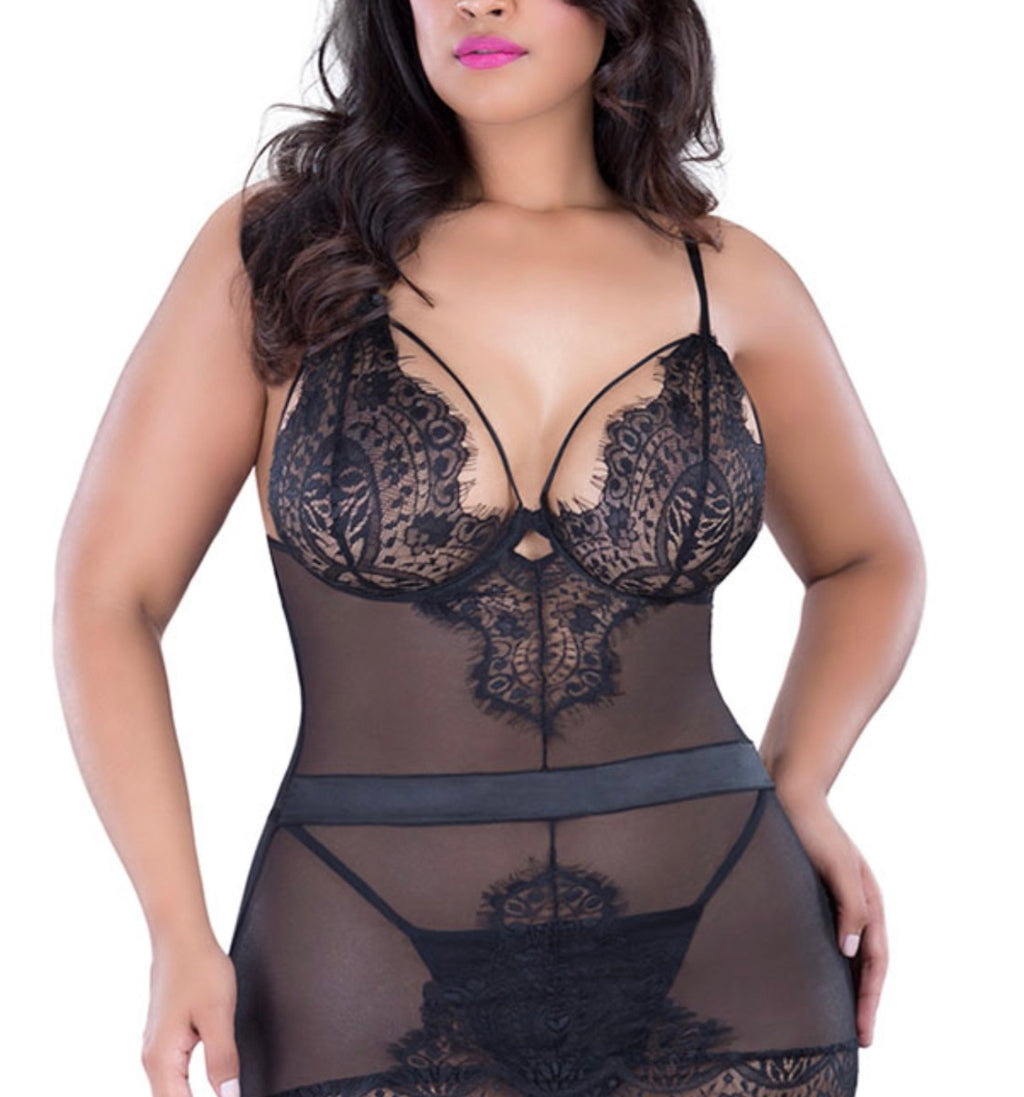 Black Butterfly Sheer Mesh and Lace Chemise - Babe You