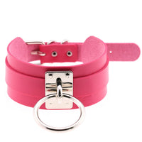Wide Leather-Look Choker with Ring - Babe You