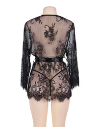 Black Belted Lace Kimono Robe - Babe You
