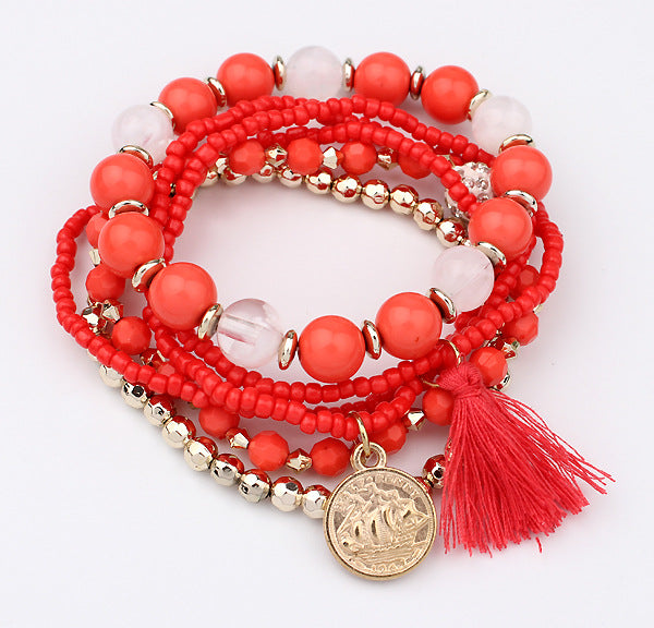 Orange & Gold Stretch Tassel Bead Bracelet - Babe You