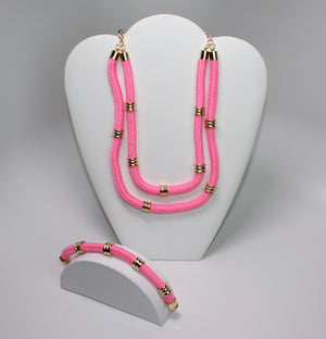 Pink Rope Necklace & Bracelet - Babe You