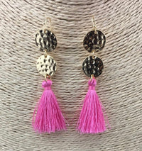 Gold & Fuchsia Pink Tassel Earrings - Babe You