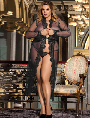 Black Delicate Long Sheer Robe - Babe You