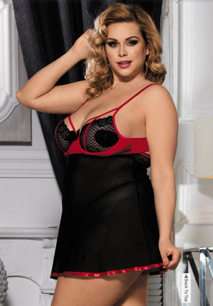 Black & Red Lace Chemise - Babe You