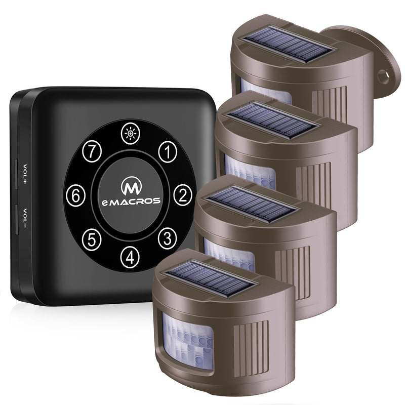 eMACROS Pairable 1/2 Mile Long Range Solar Wireless Driveway Alarm Indoor Outdoor Weatherproof Motion Sensor&Detector Security Alert System Solar Driveway Alarm eMACROS BT274-1R4S