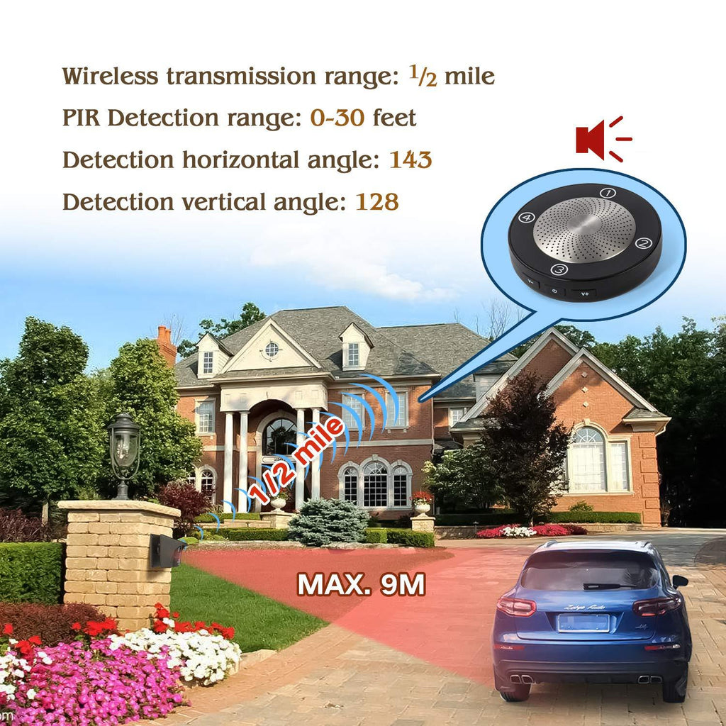 Solar Driveway Alarm Security Alert System, No Need to Replace Battery Solar Driveway Alarm eMACROS HS002-1002