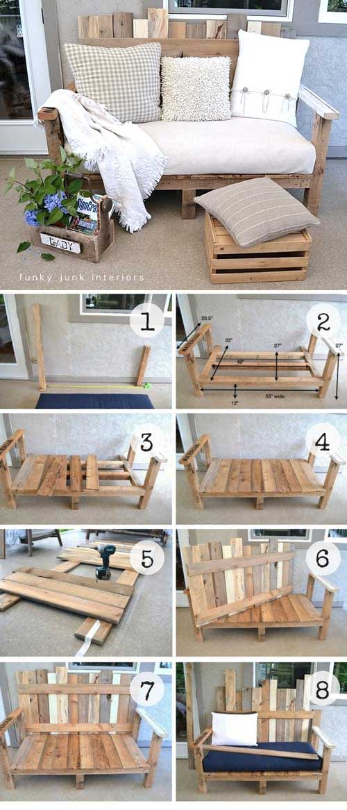 Looking for ideas for recycling old wood pallets? Then you've come to the right place! Nothing better than wooden pallets to redecorate your home without spending a dime! Since it's wood, you can literally do whatever you want with it