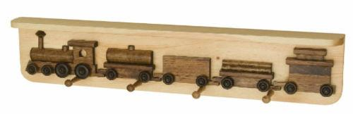 RAILROAD TRAIN COAT HOOK RACK Handmade Wooden Wall Peg with Storage Display Shelf