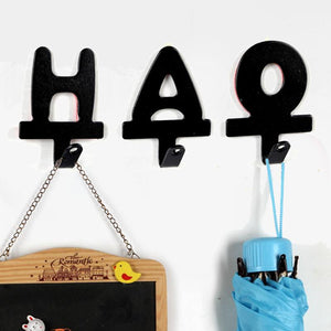 1pcs English letters shape iron wall hook adhesive  Robe Hooks hanger for clothes cap key holder home organizer