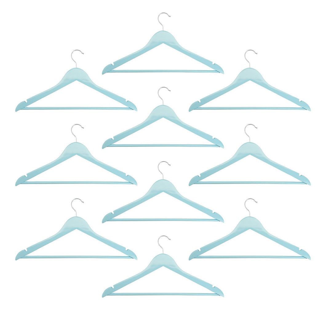 Harbour Housewares Wooden Clothes Hangers - Pastel Blue - Pack of 10