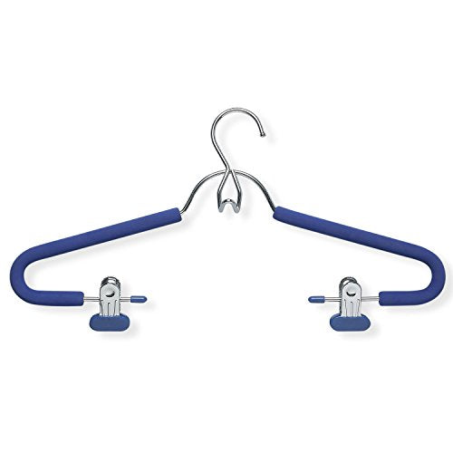 Honey-Can-Do HNGT01332 4-Pack Foam Coated Suit Hanger with Clips, Chrome/Bl, 4 Blue