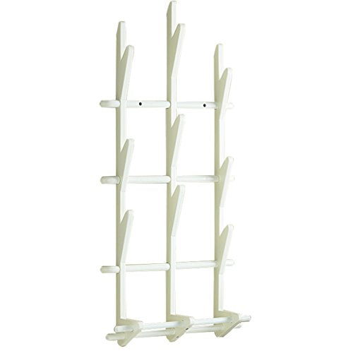 Wall Coat Hat Rack Wall-mounted Door Hanger Wood Simple Hanger Creative Hat Tie Stand (White, Walnut Color) Home Furnishing (Color : White)
