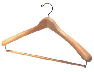 Deluxe Solid USA Maple Suit Hanger with Locking Trouser bar - Box of 20