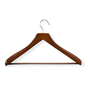 Honey-Can-Do HNG-01232 Contoured Wooden Deluxe Suit Hanger with Non-slip Bar, Cherry