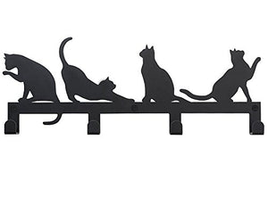 4 Hooks Wall Mounted Hanger, Holder for Towels, Keys, Coats, Hats, Robes and Clothes with Cat Décor (Black)