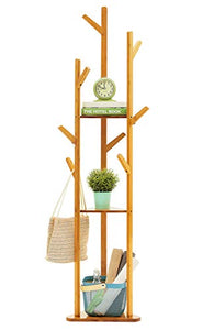 COPREE Bamboo Tree Garment Clothes Coat Hat Umbrella Portable Hanger Stand Rack with 3-Tier Storage Shelves and Hooks