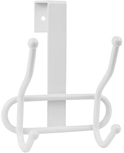 Greenco Steel Over the Door Double Hook, 2 Hooks - White Finish