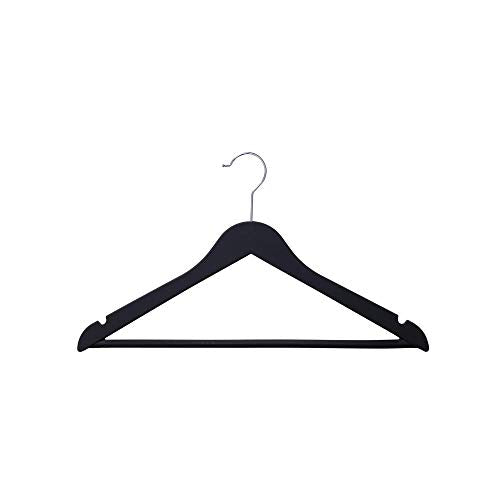 Black Heavy Duty Wood-Like Rubber Coated Suit Hanger (24 Pack)