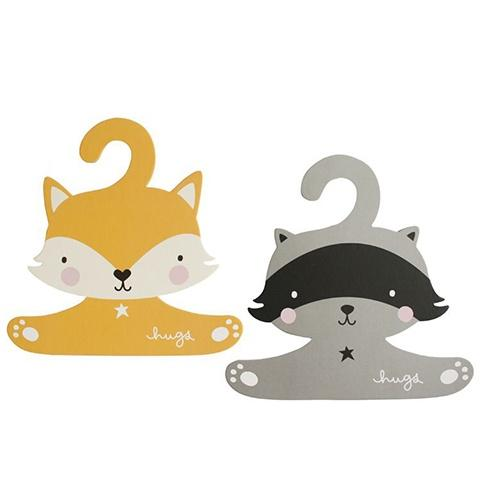 Kids Clothes Hanger Fox & Raccoon