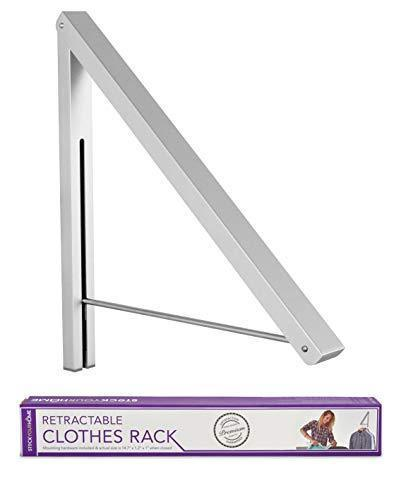 Stock Your Home Folding Clothes Hanger Wall Mounted Retractable Clothes Drying Rack Laundry Room Closet Storage & Organization, Aluminum, Easy Installation – Silver