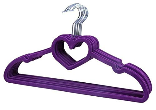 Anti-Skid Flocked Valentine Hangers/Clothes Hanger with Loving Heart-10 Pack,Pink