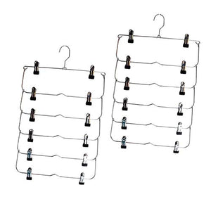 Flameer 2 Pack 6 Tier Skirt Hanger with Adjustable Clips, Durable Space Saving Metal Pants Hanger Great for Trouser Jeans and Towels