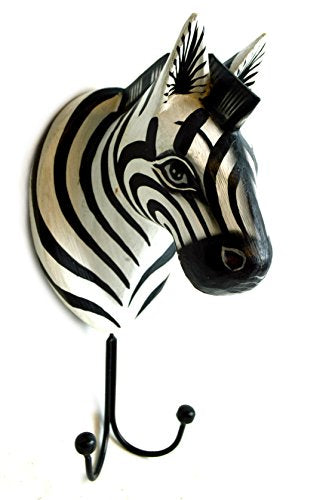 Hand Carved Zebra Towels Coats Keys Hooks Safari Hanger Holder Wooden Wall Hanging Art Sign