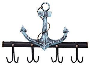 Crafia Decorated Wall Mounted Nautical Anchor Shape Iron Key Holder and Key Hooks | Decorative Unique Key Organizer Rack with 8 Hooks
