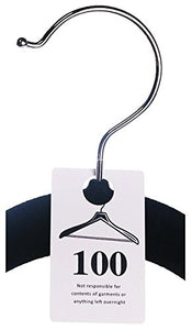 100 Tags - Plastic Coat Room Checks, Reusable White Coatroom Hanger Claim Tickets, Consecutive Numbers (401-500)