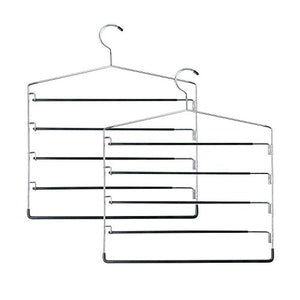 Honey-Can-Do HNGT01202 Five-Tier Swinging Arm Pant Rack Black, 2-Pack