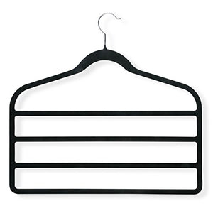 Honey-Can-Do HNGT01340 4-Pack Velvet Touch 4-Step Hanger, Black,