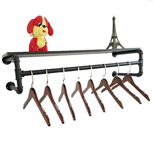 Coat Stand Coat Rack Hanging Rod Clothing Store Shelf Retro Wrought Iron Water Pipe on The Wall Side Hanger Wall Hanging Clothing Display Stand (Color : A, Size : 80cm)