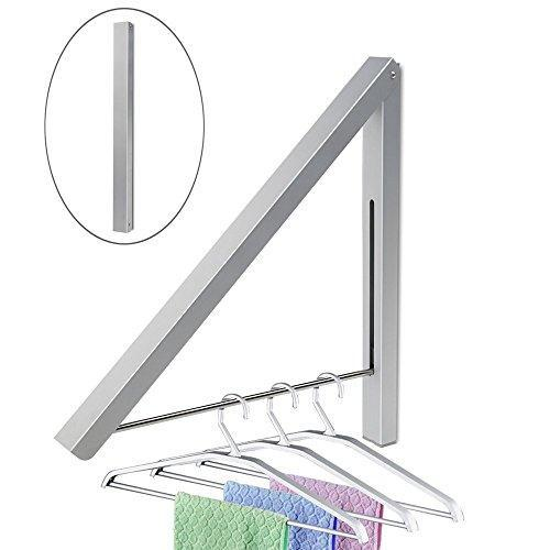 Duvengar Folding Clothes Hanger, Drying Rack, Wall Mounted Retractable Clothes Rack, Aluminum, Home Storage Organiser Space Savers, Easy Installation
