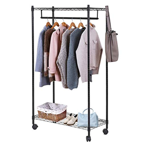 Heavy Duty Clothes Rack Hanging Rod Garment Rack Wheels Hanging Clothing Rack Top Bottom Shelves Rolling Metal Height Adjustable Commercial Grade Home Bedroom Laundryroom,Black